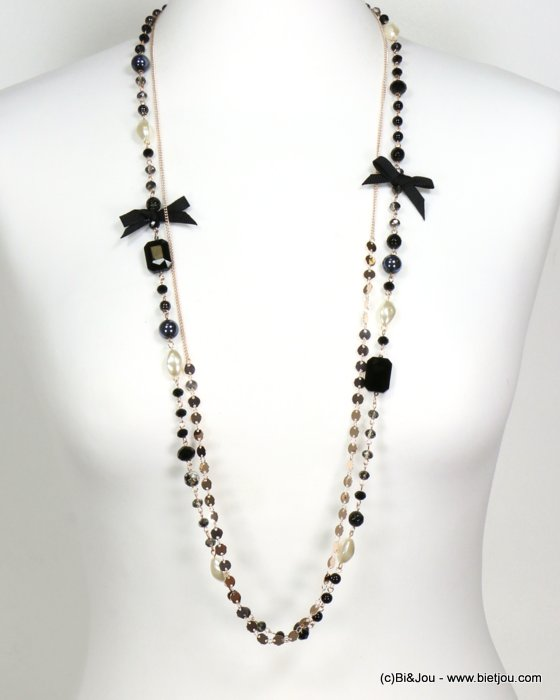 long necklace 0119545-97 sautoir bowknot metal-crystal-polyester-acrylic-reconstituted stone