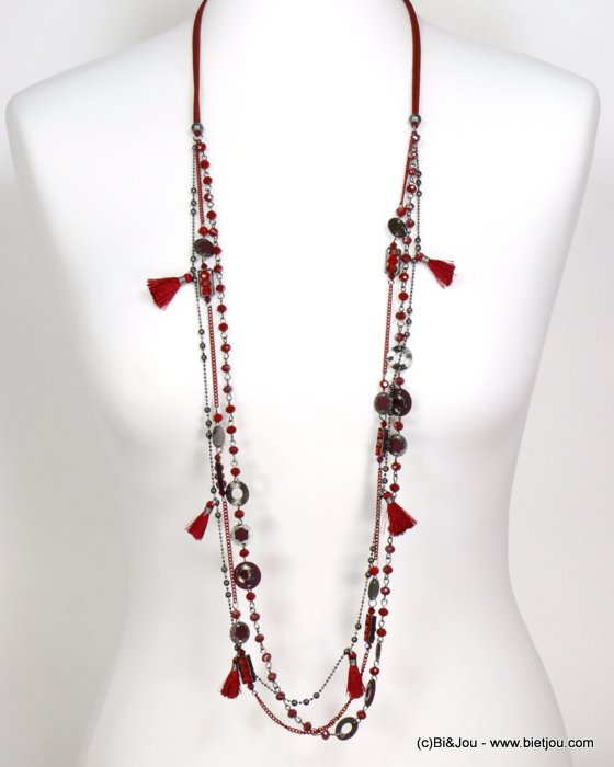 necklace 0119546-10 sautoir flower tassel multi-row crystal-polyester-metal-sided suede