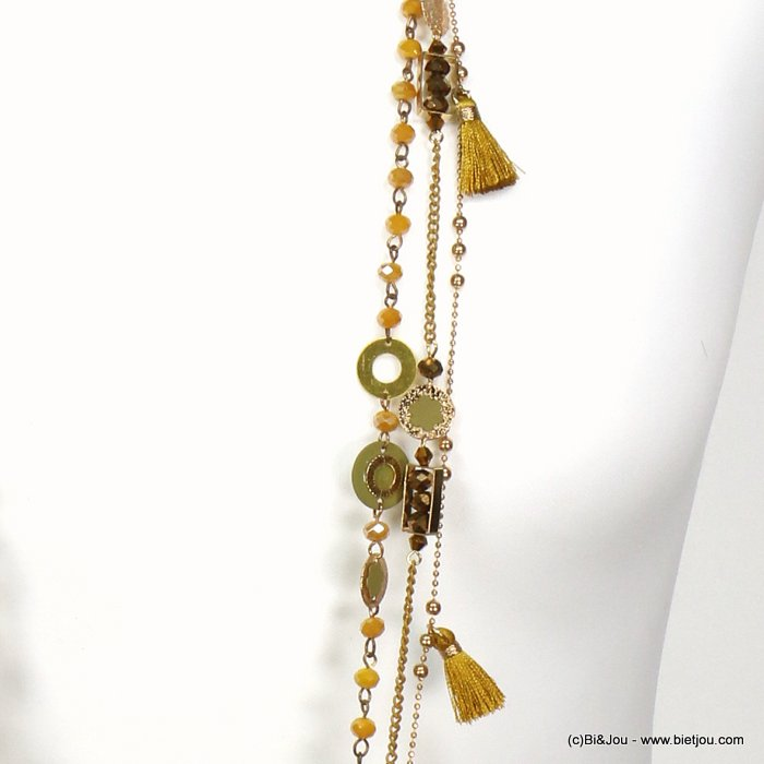 necklace 0119546-43 sautoir flower tassel multi-row crystal-polyester-metal-sided suede