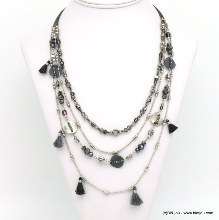 necklace 0119547-26 tassel crystal-metal-polyester-seed beads