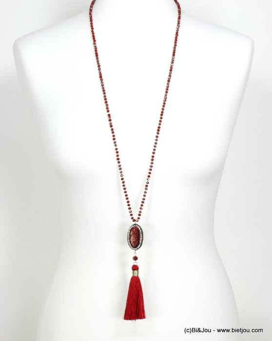 necklace 0119549-10 sautoir tassel metal-crystal-polyester-synthétique