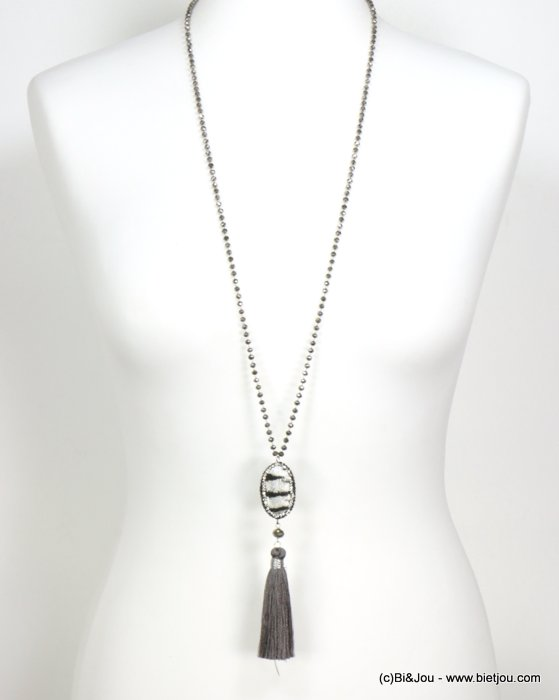 necklace 0119549-13 sautoir tassel metal-crystal-polyester-synthétique