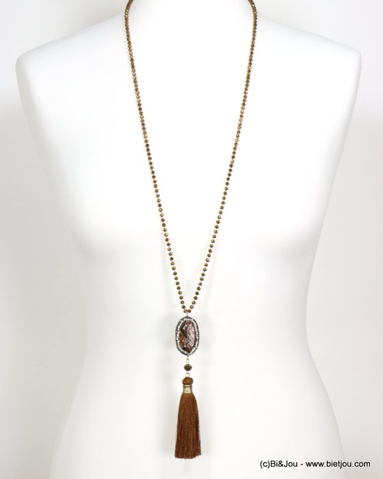 necklace 0119549-23 sautoir tassel metal-crystal-polyester-synthétique