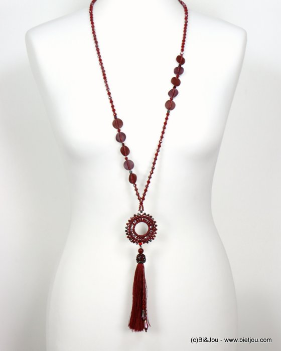 necklace 0119551-10 sautoir tassel metal-crystal-polyester-strass-reconstituted stone-seed beads