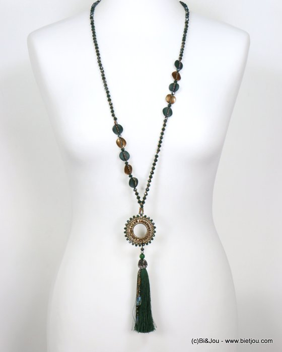 necklace 0119551-29 sautoir tassel metal-crystal-polyester-strass-reconstituted stone-seed beads