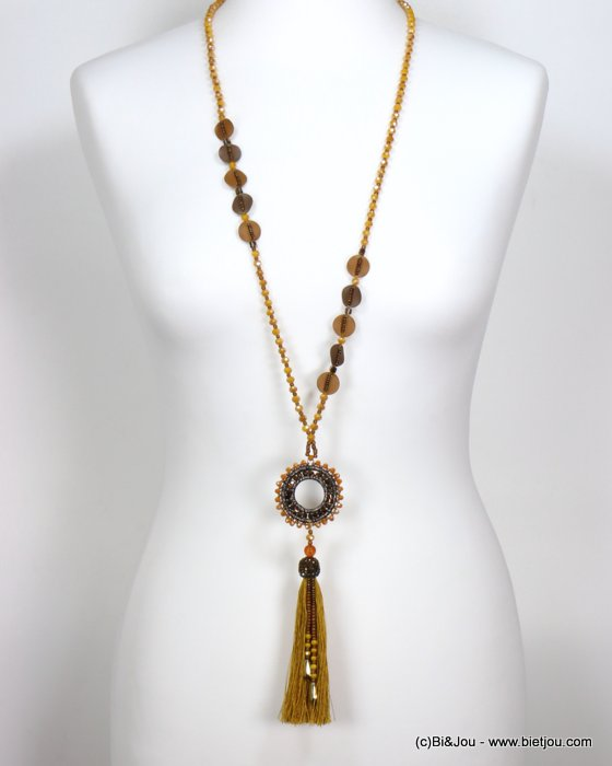 necklace 0119551-43 sautoir tassel metal-crystal-polyester-strass-reconstituted stone-seed beads