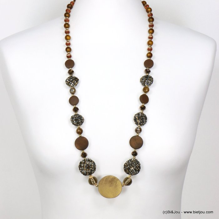 long necklace 0119552-02 sautoir round disc wood tweed glass resin balls crystal