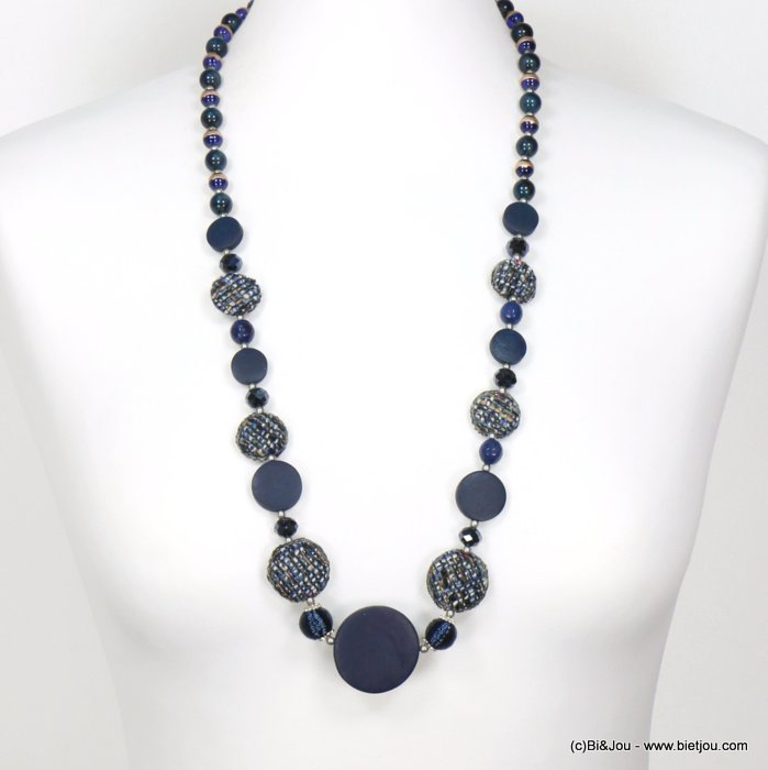 long necklace 0119552-09 sautoir round disc wood tweed glass resin balls crystal