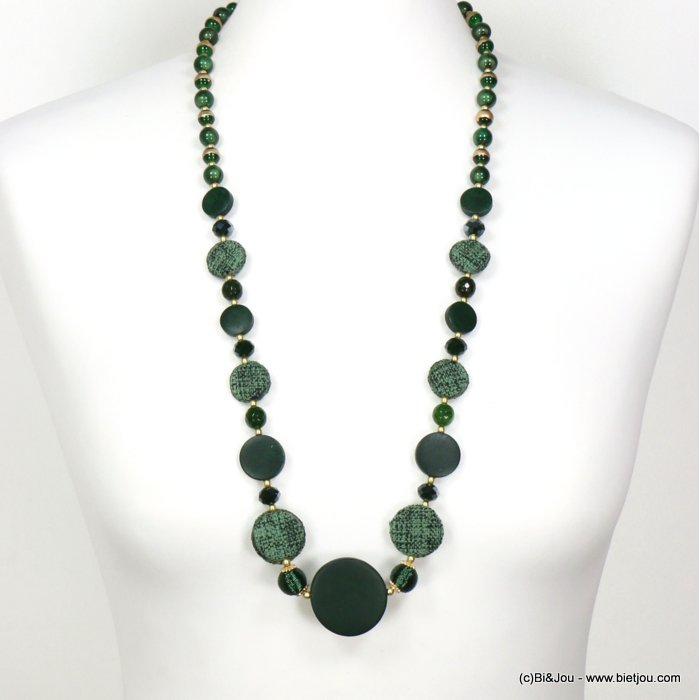 long necklace 0119552-29 sautoir round disc wood tweed glass resin balls crystal