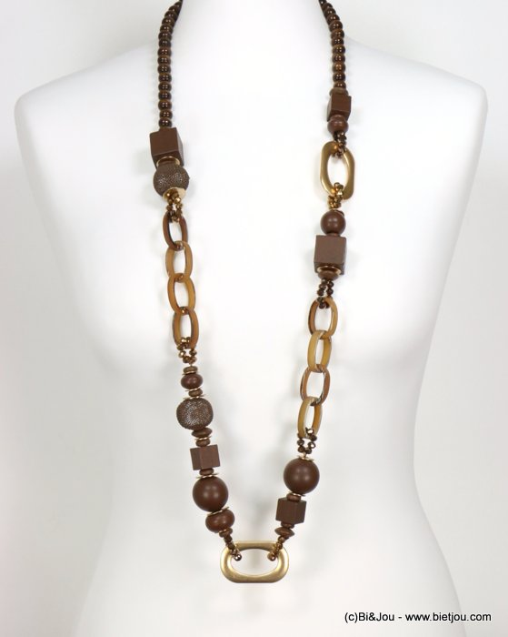 necklace 0119553-02 sautoir crystal-metal-wood-resin