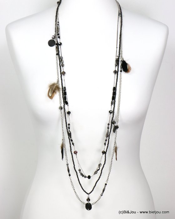necklace 0119554-01 sautoir feather multi-row crystal-polyester-metal-seed beads-metallized thread