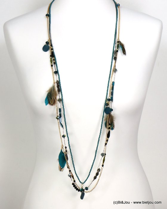necklace 0119554-09 sautoir feather multi-row crystal-polyester-metal-seed beads-metallized thread