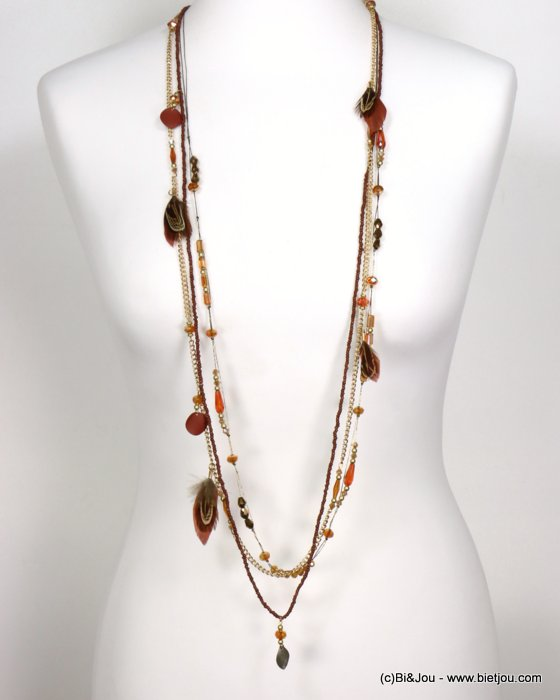 necklace 0119554-23 sautoir feather multi-row crystal-polyester-metal-seed beads-metallized thread
