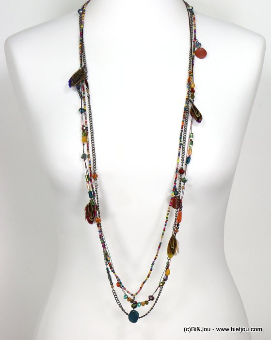 necklace 0119554-99 sautoir feather multi-row crystal-polyester-metal-seed beads-metallized thread