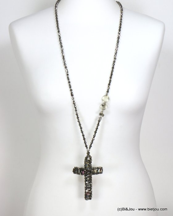 necklace 0119555-13 sautoir cross crystal-metal