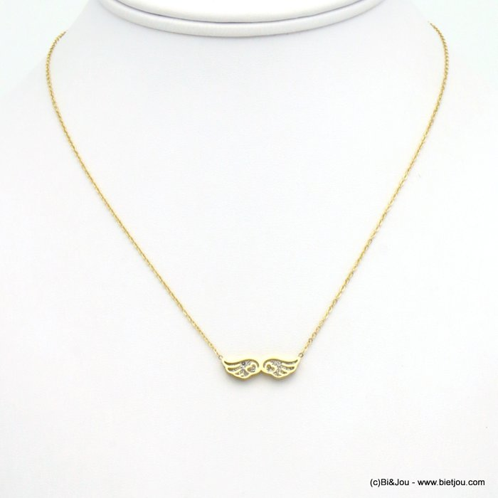 necklace 0119556-14 wing stainless steel-strass