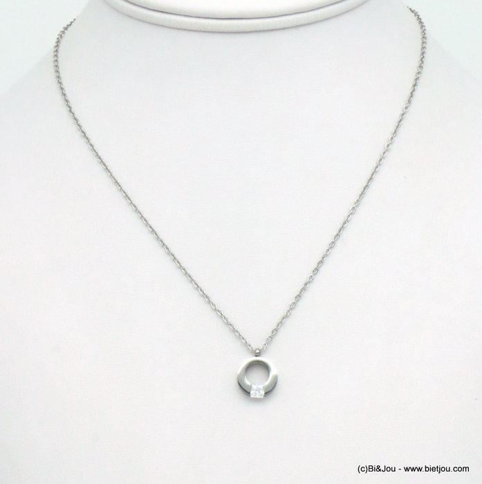 necklace 0119557-13 stainless steel-strass