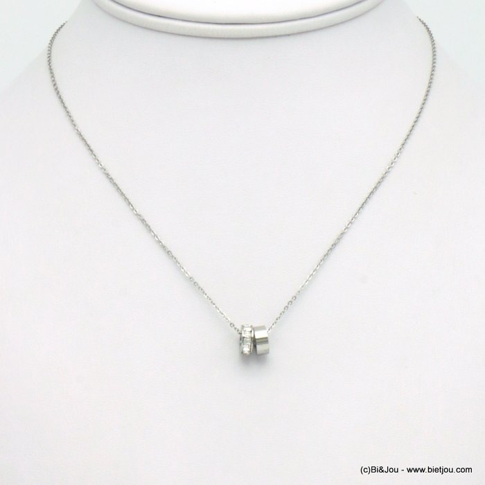 necklace 0119559-13 stainless steel-strass