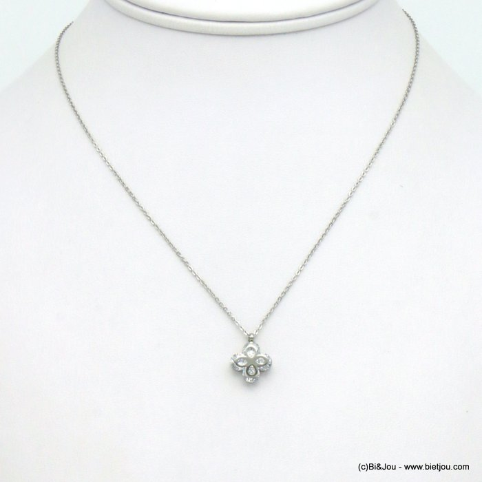 necklace 0119560-13 stainless steel-strass
