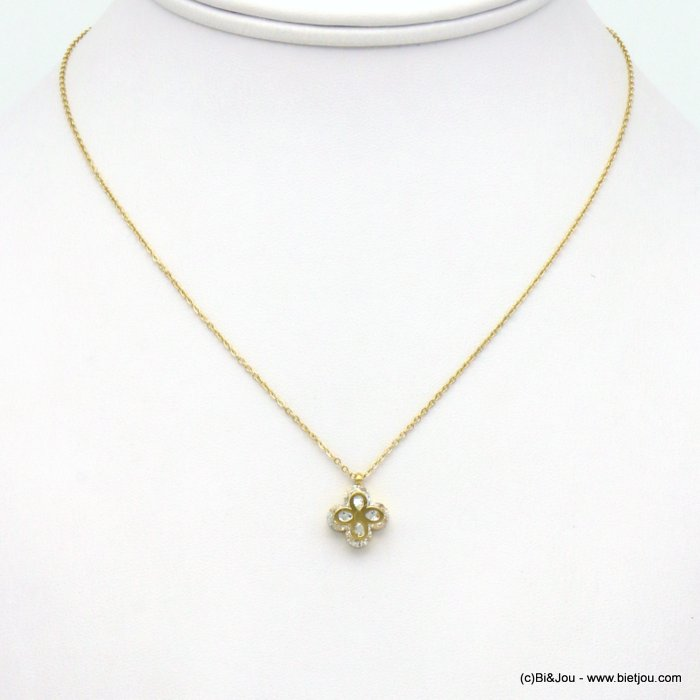 necklace 0119560-14 stainless steel-strass