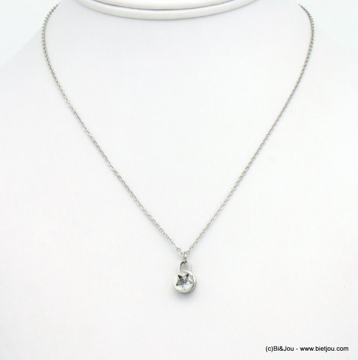 necklace 0119561-13 star stainless steel-strass