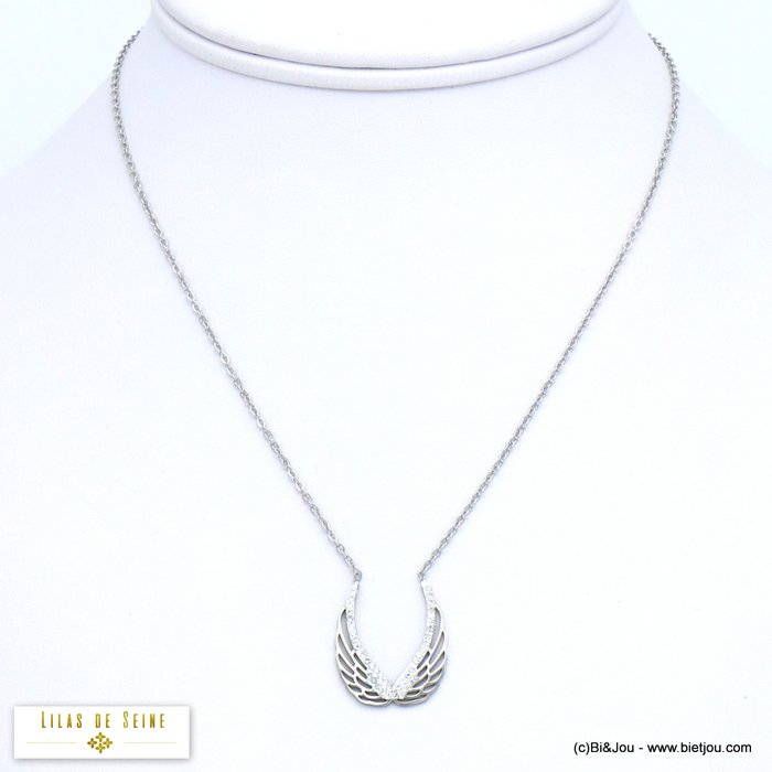 necklace 0119564-13 double wings stainless steel rhinestone woman slave link chain