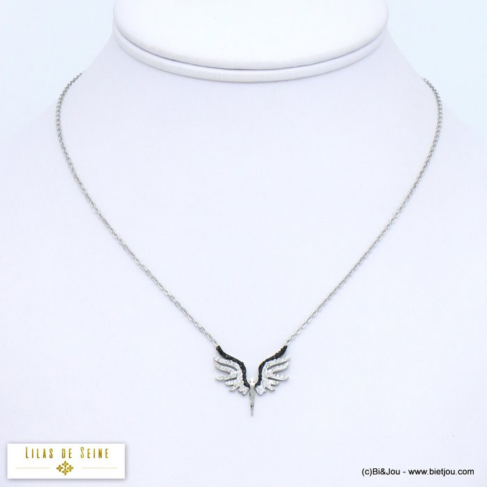 necklace 0119565-13 icarus wing woman stainless steel rhinestone slave link chain