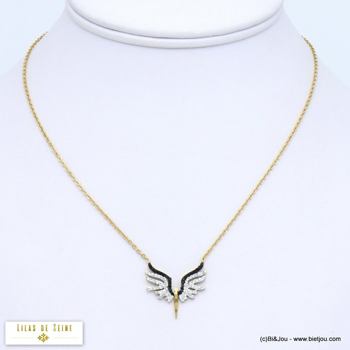 necklace 0119565-14 icarus wing woman stainless steel rhinestone slave link chain