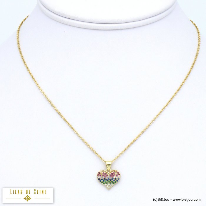 necklace 0119570-14 heart metal coloured rhinestone women slave link chain