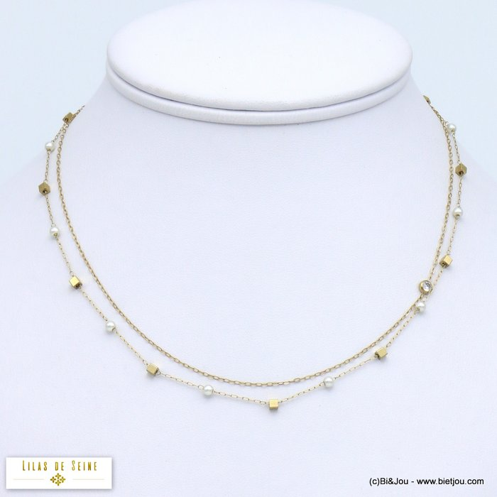 necklace 0119576-14 double row stainless steel imitation pearl rhinestone woman slave link chain