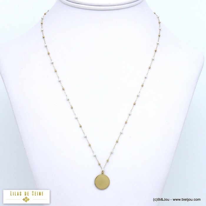 necklace 0119577-14 notch disc pendant stainless steel imitation pearl woman
