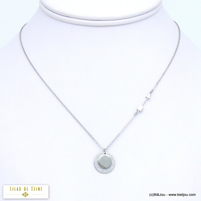 necklace 0119578-13 glitter disc arrow stainless steel woman slave link chain