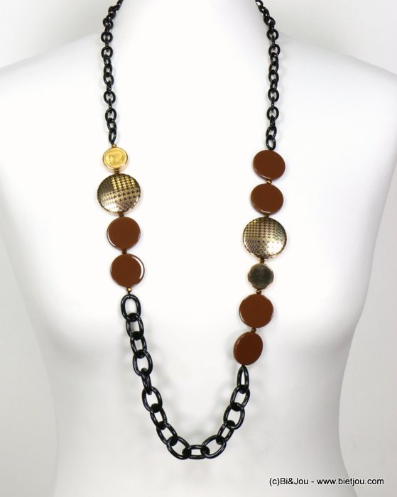 long necklace 0119579-02 sautoir houndstooth print metal round disc resin slave link chain