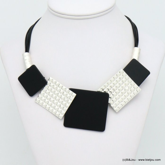 necklace 0119584-01 modern geometric metal resin xxl squares waxed coton multi-strand cords