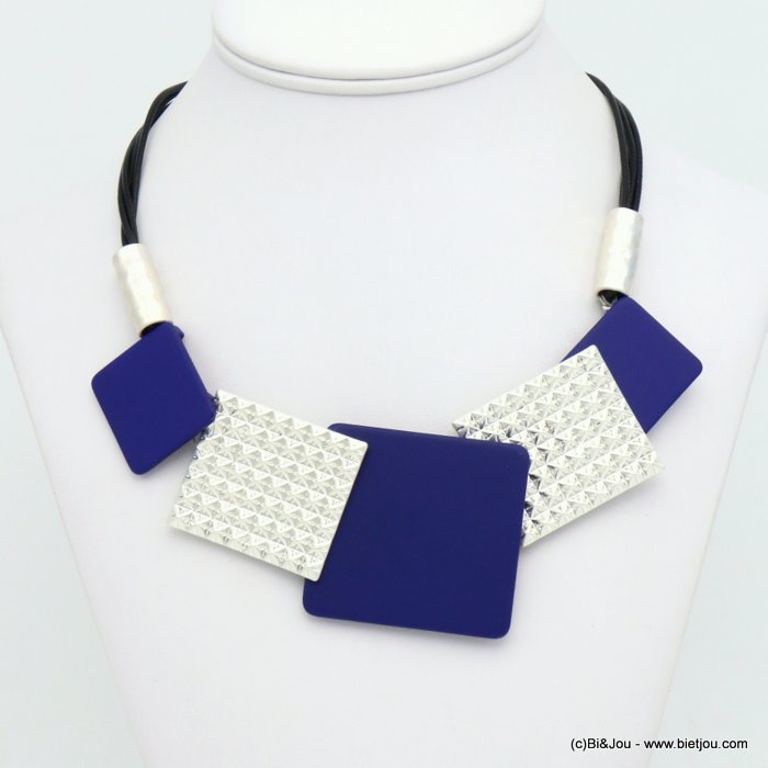 necklace 0119584-09 modern geometric metal resin xxl squares waxed coton multi-strand cords