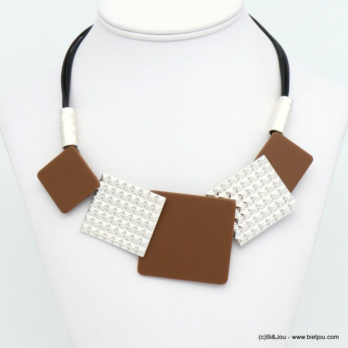 necklace 0119584-11 modern geometric metal resin xxl squares waxed coton multi-strand cords