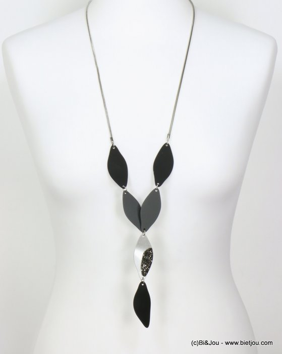 long necklace 0119586-01 sautoir modern petal paint metal rhinestone snake chain