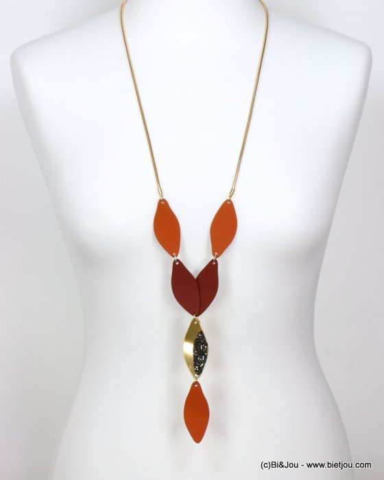 long necklace 0119586-11 sautoir modern petal paint metal rhinestone snake chain