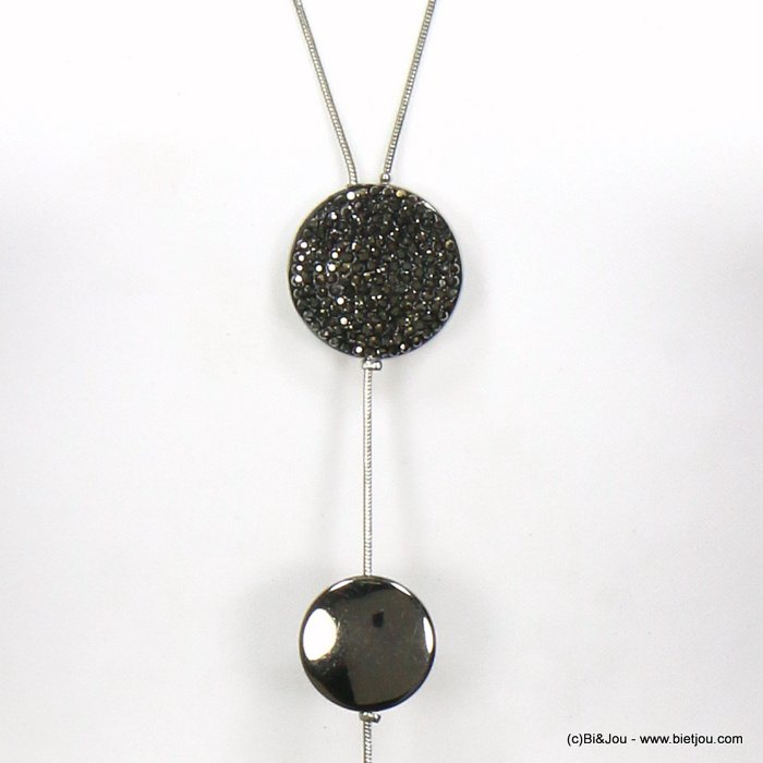 long necklace 0119587-01 Y sautoir modern rhinestone metal disc pendant resin drop snake chain