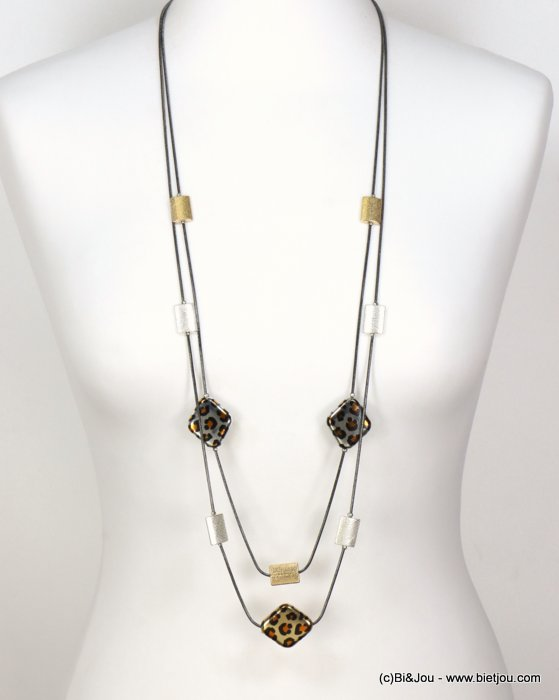 long necklace 0119591-21 sautoir double-row leopard print metal metallized resin