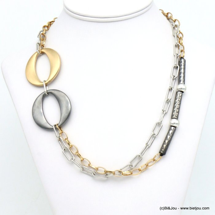 necklace 0119595-21 double-row metal XXL rings square link chain