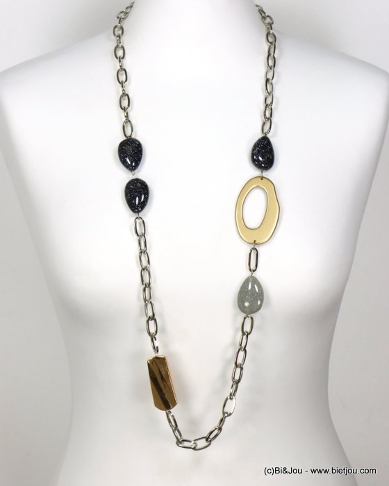 long necklace 0119596-21 sautoir glitter resin pebble metal chain