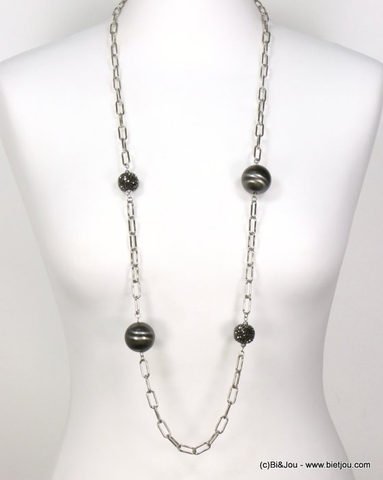long necklace 0119598-13 sautoir brush metallized resin rhinestone balls square link chain