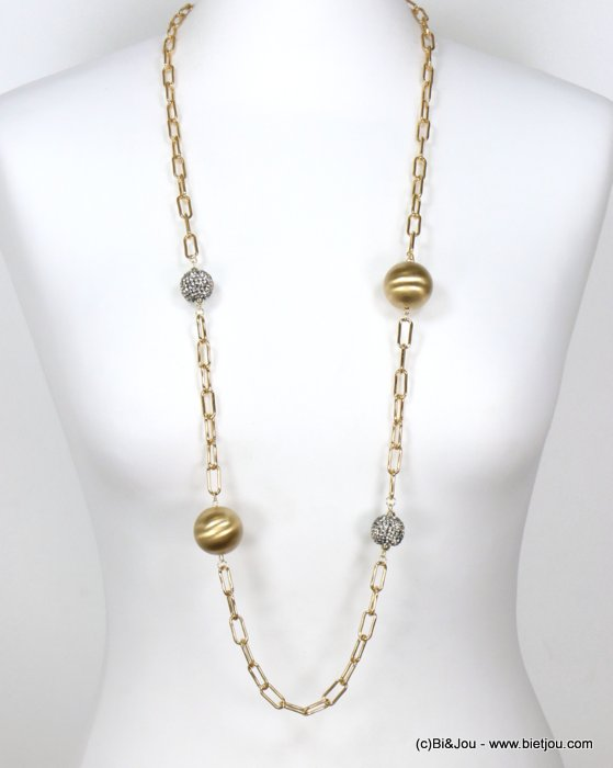 long necklace 0119598-14 sautoir brush metallized resin rhinestone balls square link chain