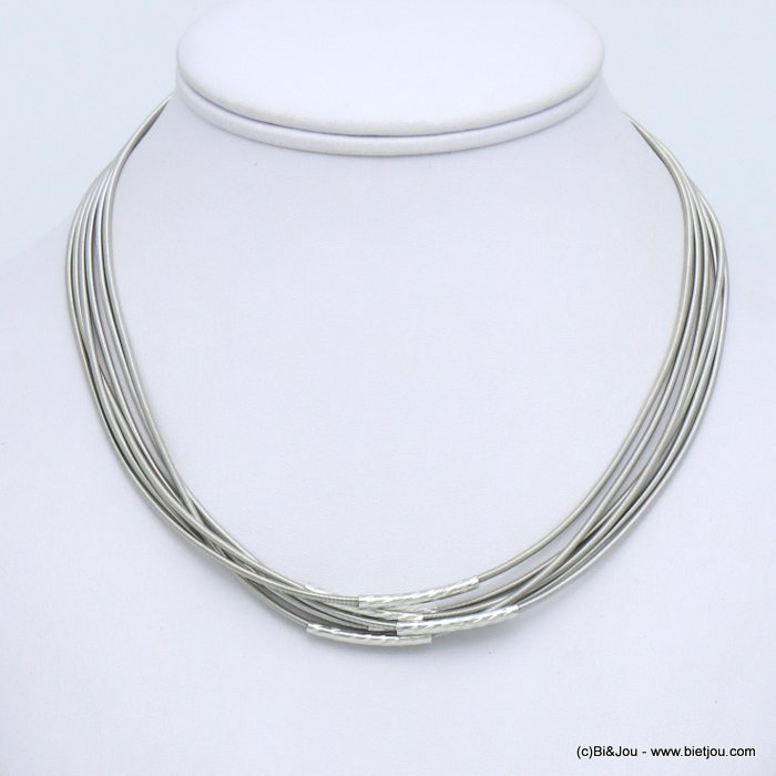 necklace 0119599-13 multi-rows memory wire hammered metal tube magnetic clasp