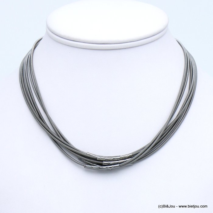 necklace 0119599-20 multi-rows memory wire hammered metal tube magnetic clasp