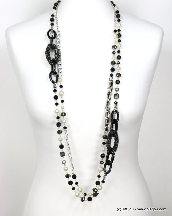 long necklace 0119612-01 sautoir double-row tweed wrap rings faux-pearl resin balls crystal curb link chain