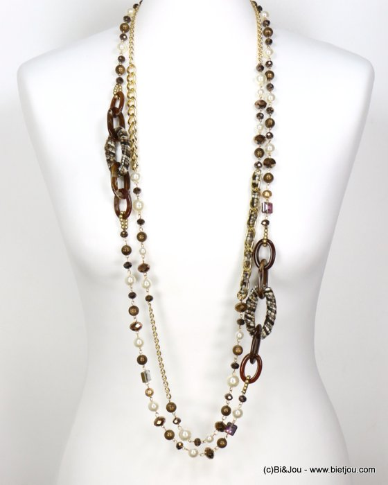 long necklace 0119612-02 sautoir double-row tweed wrap rings faux-pearl resin balls crystal curb link chain