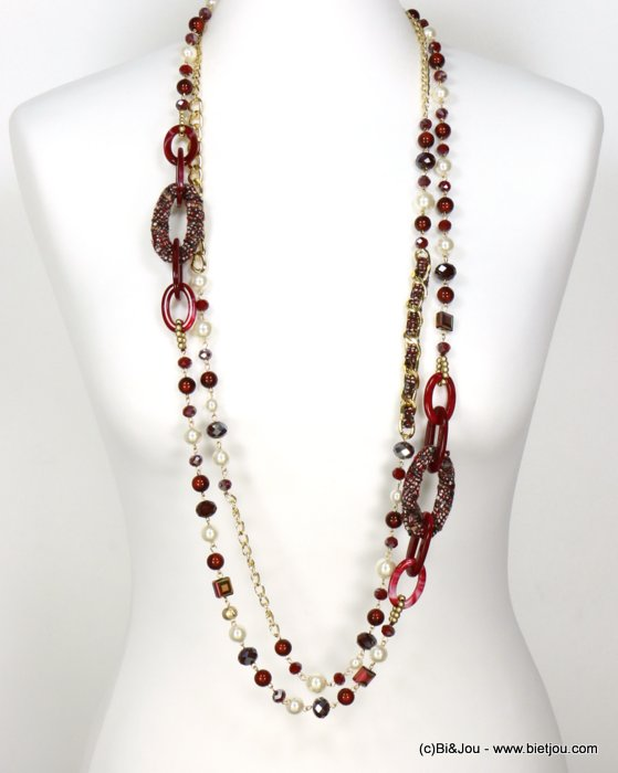 long necklace 0119612-10 sautoir double-row tweed wrap rings faux-pearl resin balls crystal curb link chain