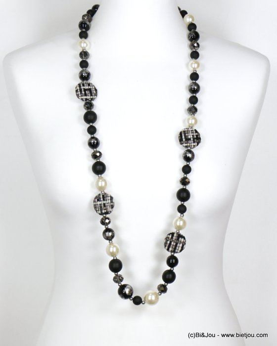 long necklace 0119613-01 sautoir wood tweed glass resin pearl balls crystal
